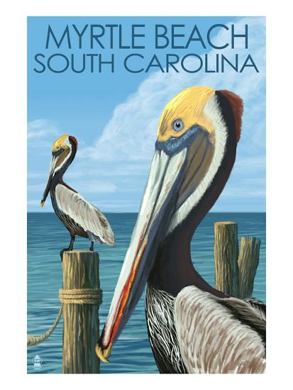 Myrtle Beach, South Carolina - Pelicans-Lantern Press-Art Print