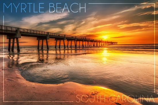 Myrtle Beach, South Carolina - Pier and Sunset-Lantern Press-Wall Mural