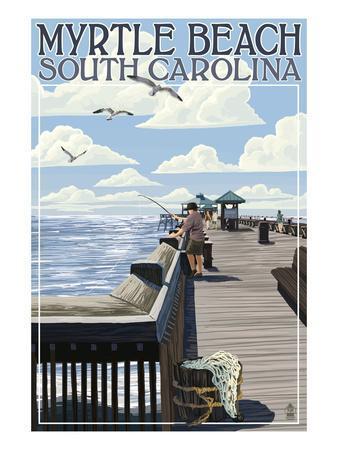 Myrtle beach south carolina pier scene art print by for International decor outlet jacksonville fl