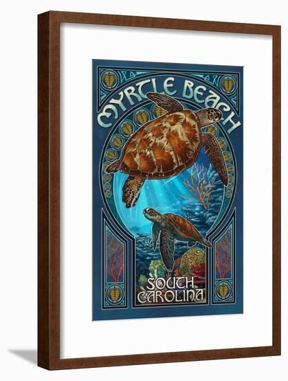 Myrtle Beach, South Carolina - Sea Turtle Art Nouveau-Lantern Press-Framed Art Print