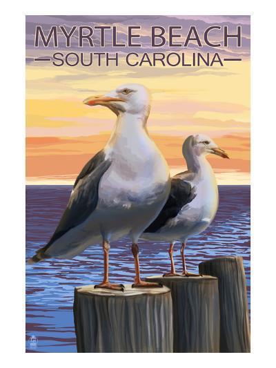 Myrtle Beach, South Carolina - Seagulls-Lantern Press-Art Print