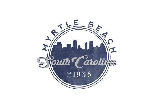 Myrtle Beach, South Carolina - Skyline Seal (Blue)-Lantern Press-Art Print