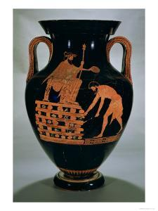 Attic Red-Figure Belly Amphora Depicting Croesus on His Pyre, from Vulci, circa 500-490 BC by Myson