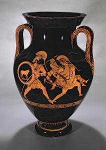 Attic Red-Figure Belly Amphora Depicting the Abduction of Antiope with Theseus and Pirithous by Myson