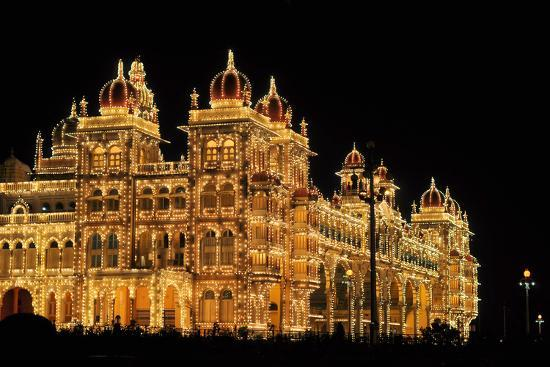 Mysore Palace in India Illuminated at Night-flocu-Photographic Print