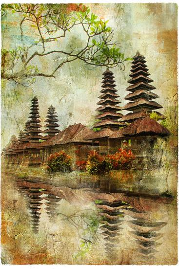 Mysterious Balinese Temples, Artwork In Painting Style-Maugli-l-Art Print
