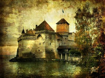 Mysterious Castle On The Lake - Artwork In Painting Style-Maugli-l-Art Print