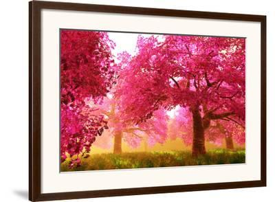 Mysterious Japanese Cherry Blossom Tree Sakura Render-boscorelli-Framed Art Print