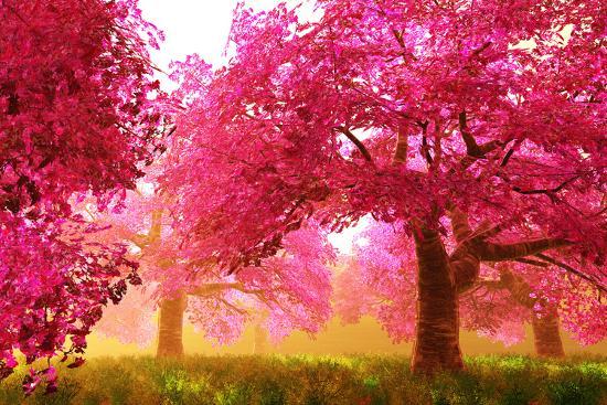 Mysterious Japanese Cherry Blossom Tree Sakura Render Art Print