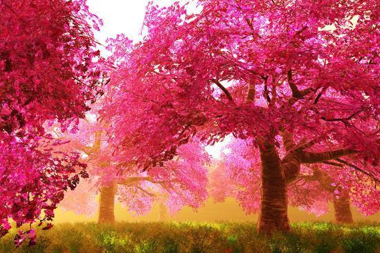 Mysterious Japanese Cherry Blossom Tree Sakura Render Art Print By