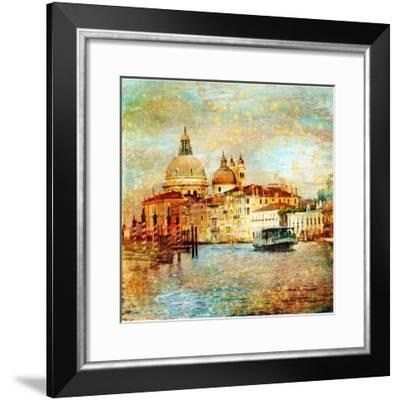 Mystery Of Venice - Artwork In Painting Style-Maugli-l-Framed Premium Giclee Print