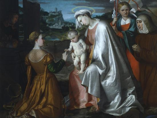 Mystic Marriage of Saint Catherine in the Presence of Saints Ursula--Giclee Print