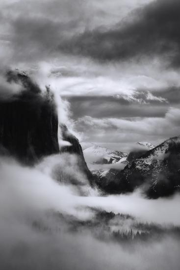 Mystical Magical Surreal Yosemite Valley in Winter Clouds Black White-Vincent James-Photographic Print