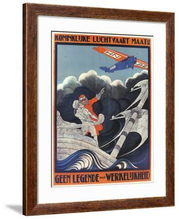 Myth Of The Flying Dutchman Advertising KLM Dutch Airlines In A Fokker-Anthonius Mathiew-Framed Art Print