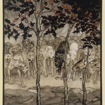 Mythical Irish Dogs-Arthur Rackham-Photographic Print