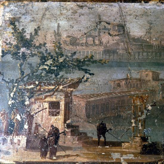 Mythical landscape at Naples, Roman wallpainting from Pompeii, c1st century-Unknown-Giclee Print