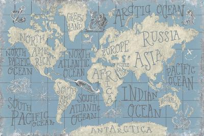 Mythical Map I Blue-Mary Urban-Art Print