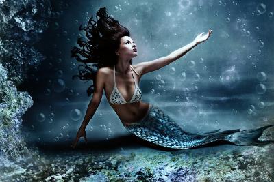 Mythology Being, Mermaid In Underwater Scene, Photo Compilation-coka-Art Print