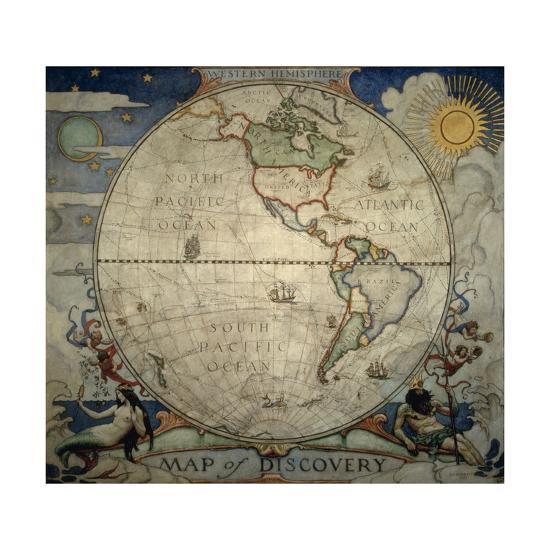 N.C. Wyeth's Painting of the Western Hemisphere-Newell Convers Wyeth-Giclee Print