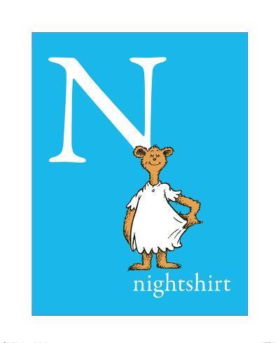 N is for Nightshirt (blue)-Theodor (Dr. Seuss) Geisel-Art Print