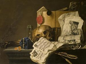Vanitas Still Life with Skull, Papers, A Wax Seal and a Burning Log by N. L. Peschier