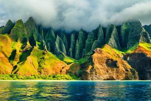 Na Pali Coast, Kauai, Hawaii View from Sea Sunset Cruise Tour. Nature Coastline Landscape in Kauai