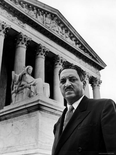 NAACP Chief Counsel Thurgood Marshall in Serious Portrait Outside Supreme Court Building-Hank Walker-Premium Photographic Print