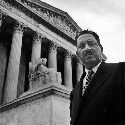 NAACP Chief Counsel Thurgood Marshall Standing on Steps of the Supreme Court Building-Hank Walker-Premium Photographic Print