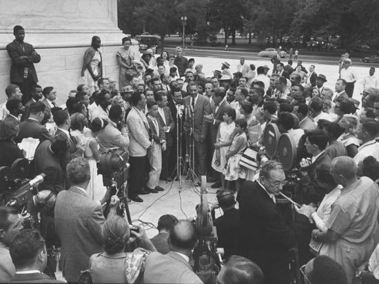 Naacp Lawyer Thurgood Marshall Speaking to the Press-Ed Clark-Photographic Print