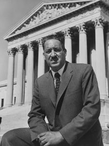 Naacp Lawyer Thurgood Marshall Standing in Front of the Supreme Court Building