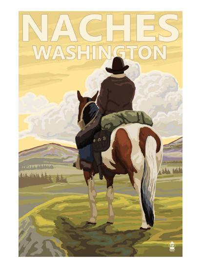 Naches, Washington - Cowboy-Lantern Press-Art Print