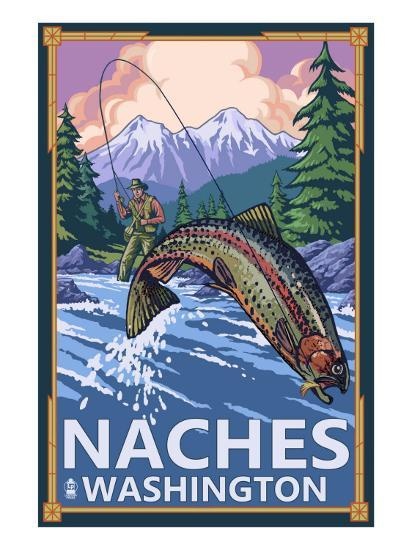 Naches, Washington - Fisherman-Lantern Press-Art Print