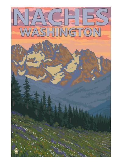 Naches, Washington - Spring Flowers-Lantern Press-Art Print