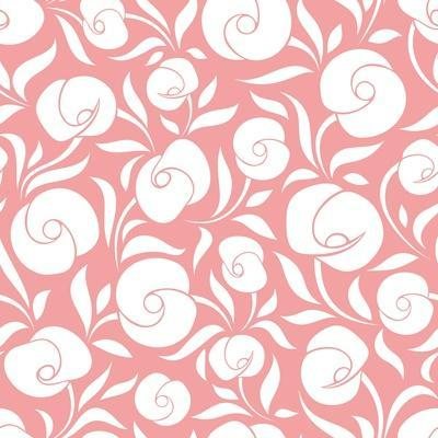 Seamless White Floral Pattern on Pink. Vector Illustration.