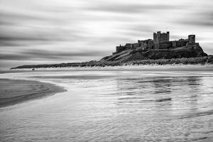 Bamburgh Castle and Beach at Low Tide, Northumberland, Uk by Nadia Isakova