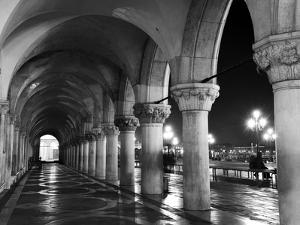 Columns of the Doge's Palace at Night, Venice, Veneto Region, Italy by Nadia Isakova