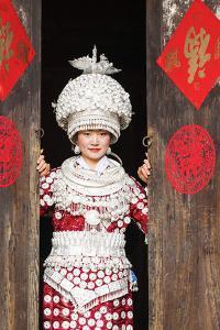 Young Miao Woman Wearing Traditional Costumes and Silver Jewellery, Guizhou, China by Nadia Isakova