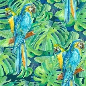 Seamless Pattern Element of Two Ara Parrots and Leaves of Monstera by NadiiaZ