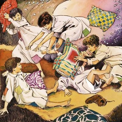 A Pillow Fight, Illustration from 'Peter Pan' by J.M. Barrie