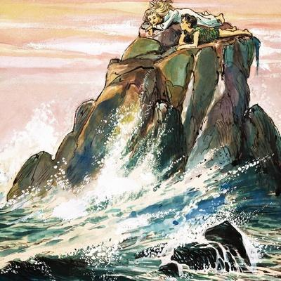 Peter Pan and Wendy Darling on a Rock, Illustration from 'Peter Pan' by J.M. Barrie