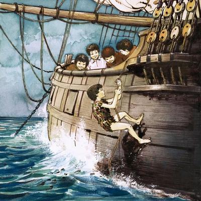 Peter Pan Climbing Aboard, Illustration from 'Peter Pan' by J.M. Barrie