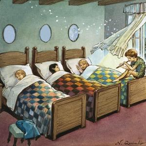 Wendy, Michael and John Sleeping, Illustration from 'Peter Pan' by J.M. Barrie by Nadir Quinto