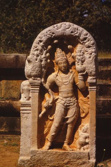 Naga King on a Guardstone at entrance to Ratanapasada, Anuradhapura, 8-9th century. (20th century)-Unknown-Photographic Print