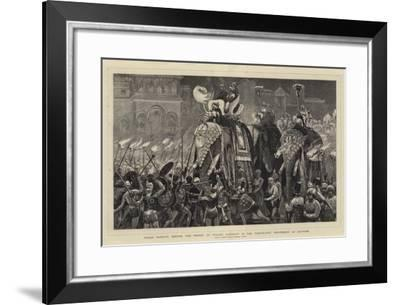 Nagas Dancing before the Prince of Wales' Elephant in the Torchlight Procession at Jeypore-Joseph Nash-Framed Giclee Print