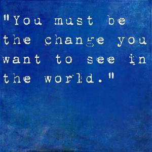 Inspirational Quote By Mahatma Ghandi On Earthy Blue Background by nagib