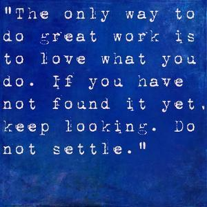 Inspirational Quote By Steve Jobs On Earthy Blue Background by nagib