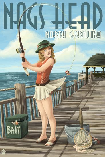 Nags Head, North Carolina - Pinup Girl Fishing-Lantern Press-Art Print