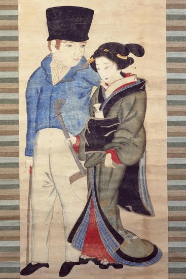 Nagsaki Girl with Young Dutchman--Giclee Print