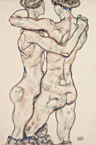 Naked Girls Embracing, 1914-Egon Schiele-Giclee Print