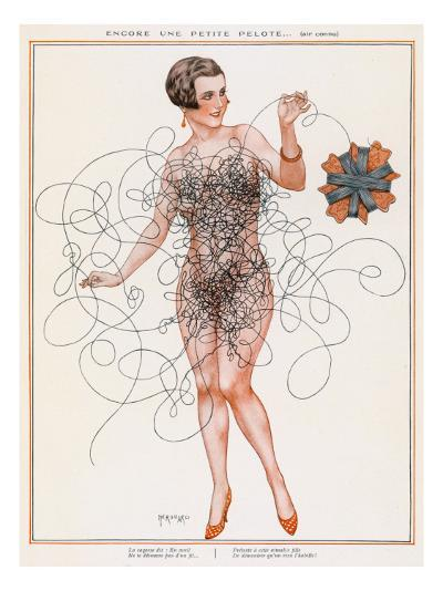 Naked Lady Gets into a Tangle with Some Thread--Giclee Print